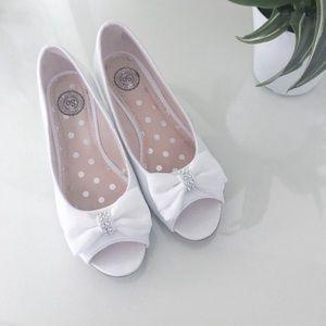 Girl's White Dress peep toe slip-on wedges